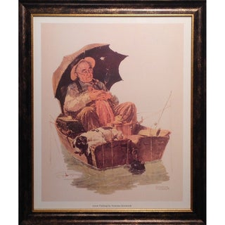 Norman Rockwell 'Gone Fishing' Framed Lithograph Print