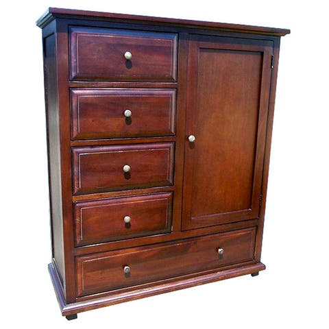 D-Art Collection Mahogany Wood Java Chiffonier with Solid Brass Handle