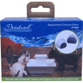 Drinkwell Pet Fountains Avalon and Pagoda Replacement Charcoal Filters (Pack of 4)