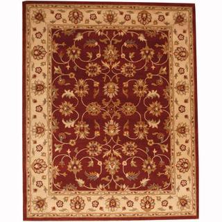 Herat Oriental Persian Indo Hand-tufted Tabriz Burgundy/ Ivory Wool Rug (8' x 10')