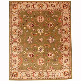 Herat Oriental Persian Indo Hand-tufted Tabriz Green/ Ivory Wool Rug (8' x 10')