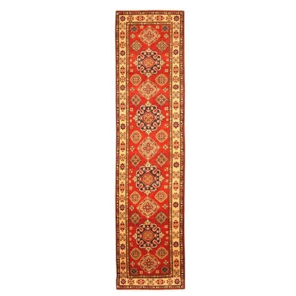 Herat Oriental Afghan Hand-knotted Tribal Kazak Red/ Ivory Wool Rug (2'8 x 10'9) - 2'8 x 10'9