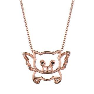 Rose Gold Flying Pig Necklace