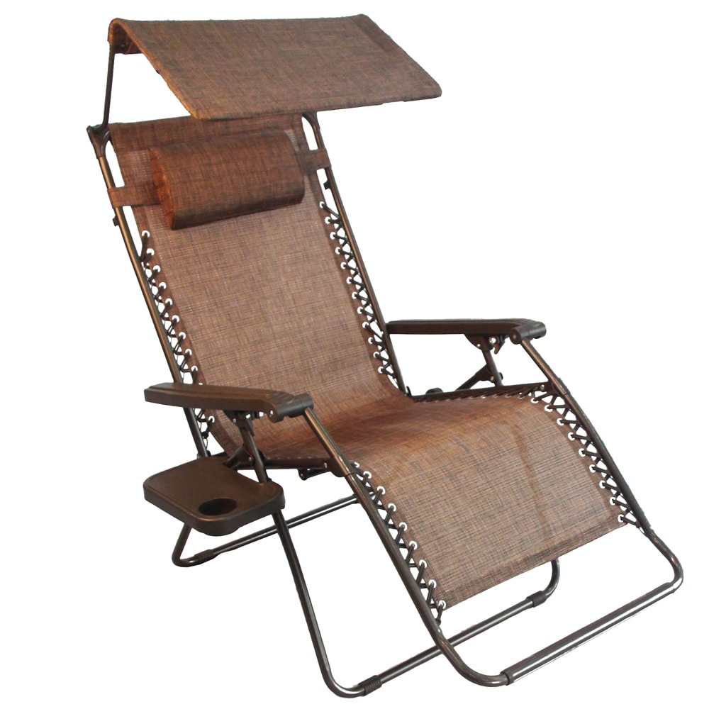 Jeco Oversized Brown Zero Gravity Chair with Sunshade and...