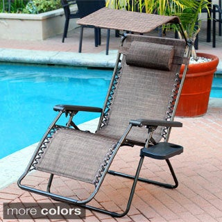 Attrayant Oversized Brown Zero Gravity Chair With Sunshade And Drink Tray
