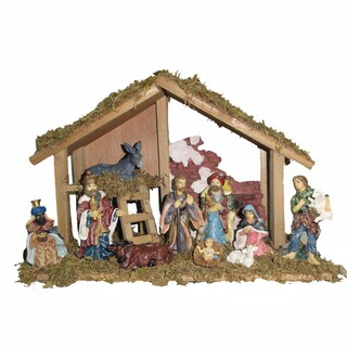 Kurt Adler 15-inch Wooden Stable with 10-piece Resin Figures Nativity Set