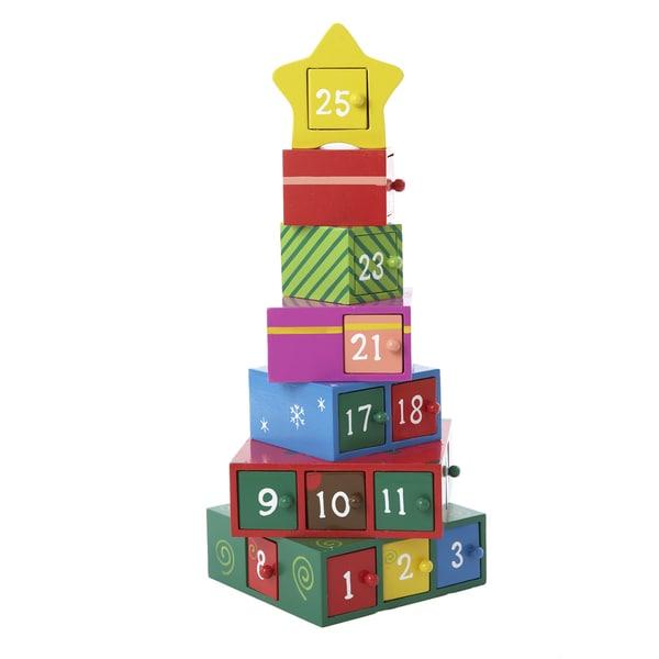 Kurt Adler 13 Inch Wooden Gift Tree Advent Calendar Tablepiece