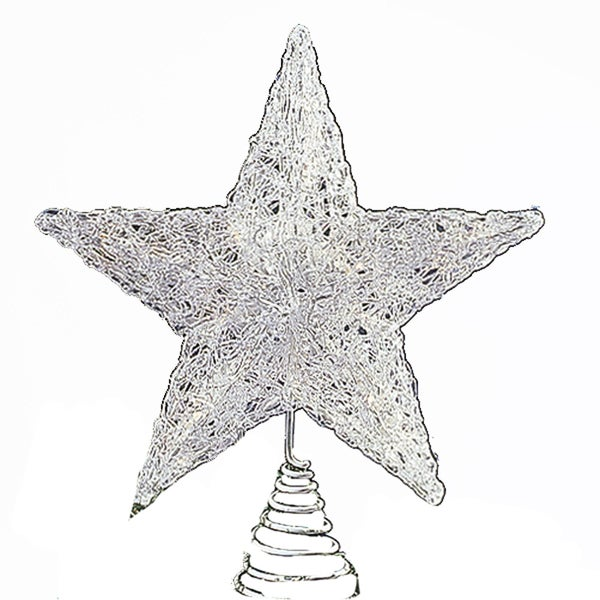 Kurt Adler 12-inch UL-approved Spun Acrylic-Look Plastic Star Treetop
