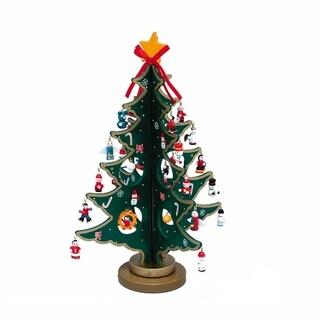 Kurt Adler 11.75-inch Wooden Tree with Miniature Wooden Ornaments, 25 Piece Set