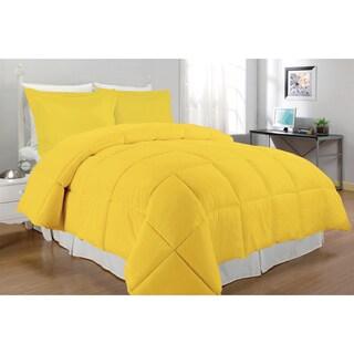 Microfiber Down Alternative 3-piece Comforter Set (Option: Yellow - Twin)