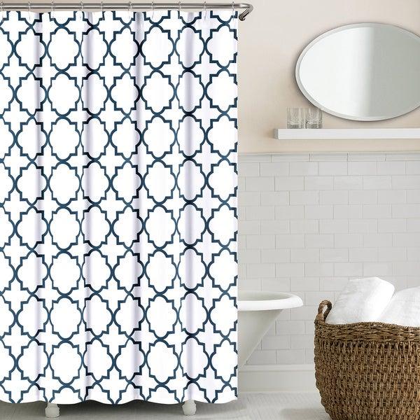 Echelon home 72 inch quatrefoil shower curtain free for Quatrefoil bathroom decor