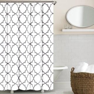 Echelon Home Quatrefoil Shower Curtain (Option: Zinc)