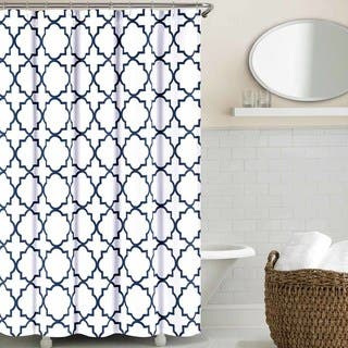 navy and coral shower curtain. Echelon Home Quatrefoil Shower Curtain Curtains For Less  Overstock com Vibrant Fabric Bath
