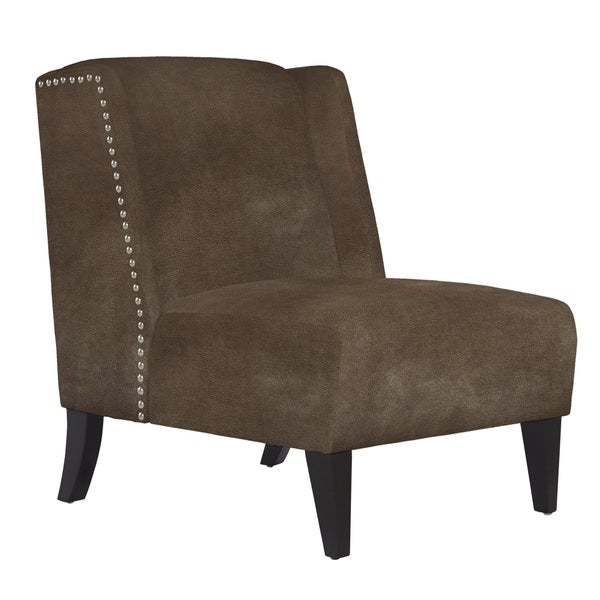 Handy Living Barton Milk Chocolate Brown Renu Leather Armless Wingback Chair