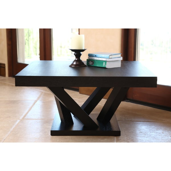Abbyson Cosmo Espresso Wood Square Coffee Table