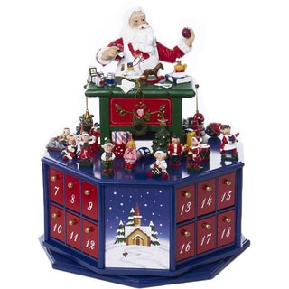 Kurt Adler 12-inch Santa Workshop Musical Advent Calender