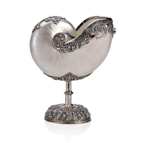 Neda behnam home decor genuine nautilus seashell on for Artistic accents genuine silver decoration