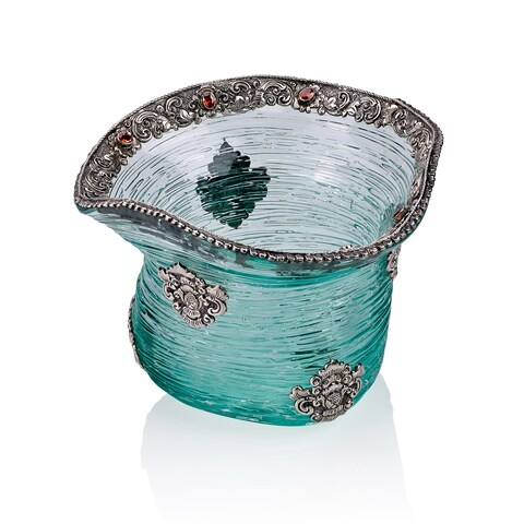 Neda Behnam Home Decor Hand Made Spun Glass Bowl with Sterling Silver and Quartz Accents