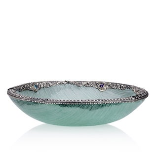 Neda Behnam Home Decor Hand Made Spun Glass Bowl with Sterling Silver and Genuine Quartz Accents
