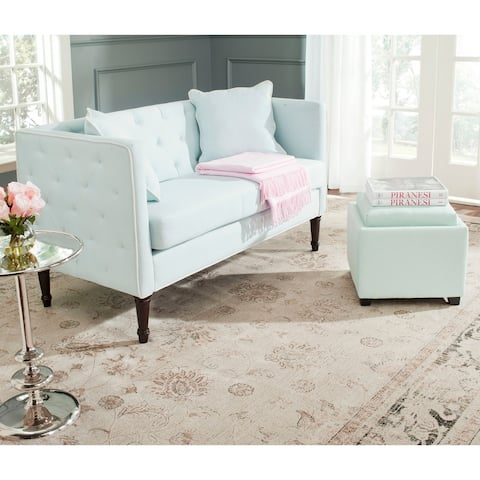 Safavieh Sarah Powder Blue/ White Tufted Settee - 0