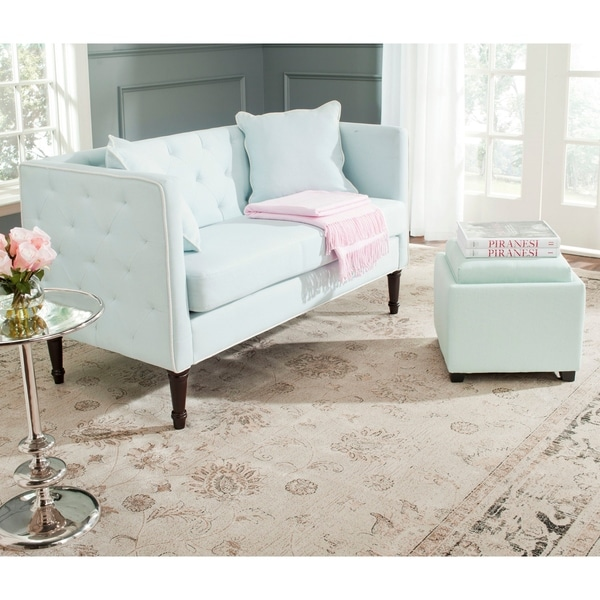 Safavieh Sarah Powder Blue/ White Tufted Settee - 0. Opens flyout.