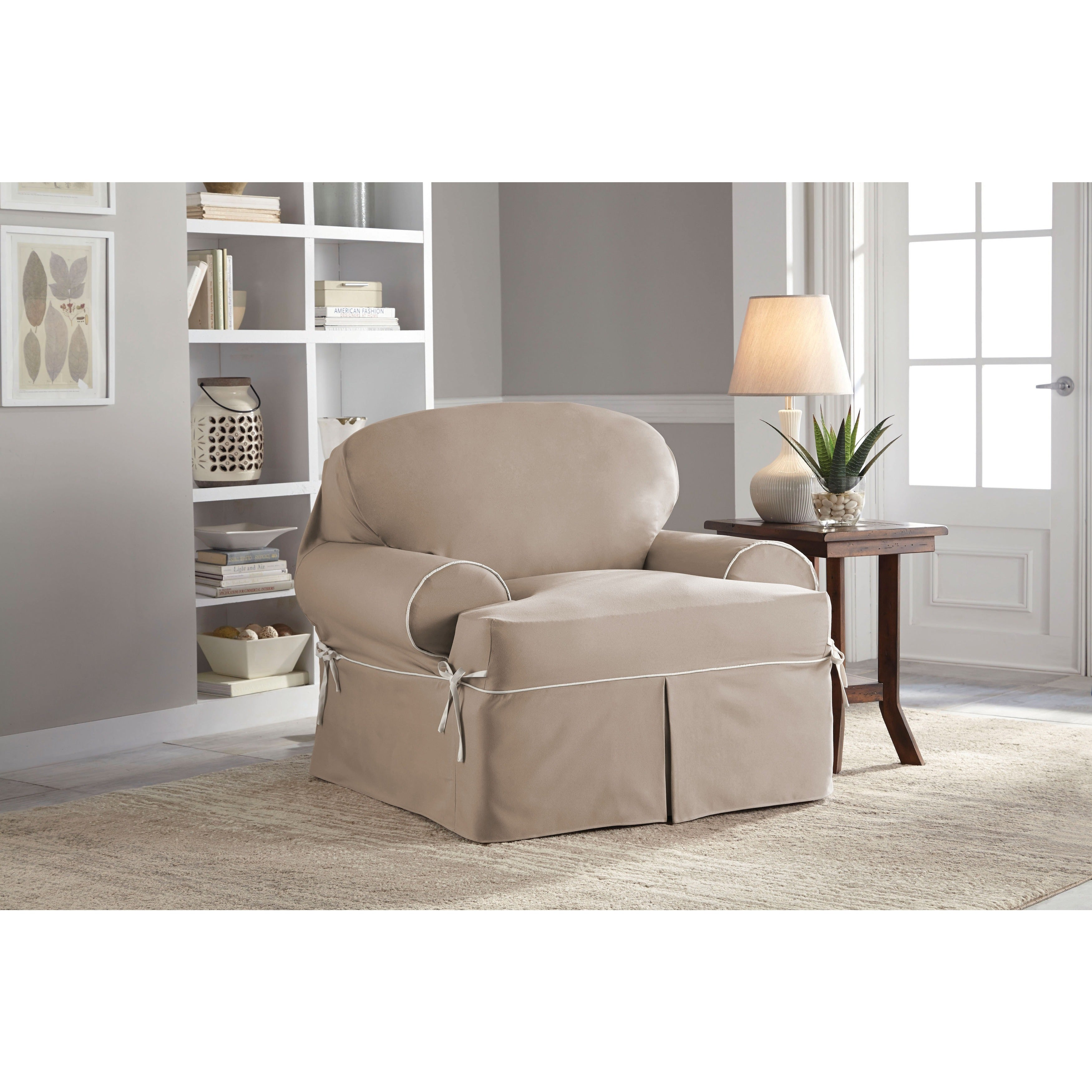 Tailor Fit Relaxed Fit Twill T-Cushion Chair Slipcover (T...