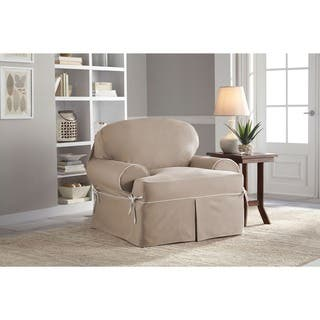 Tailor Fit Relaxed Fit Twill T-Cushion Chair Slipcover|https://ak1.ostkcdn.com/images/products/9549911/P16730635.jpg?impolicy=medium