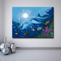 Ready2hangart David Dunleavy 'Kissing Dolphins' Canvas Wall Art
