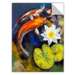 Michael Creese 'Koi Fish and Water Lily' Removable Wall Art