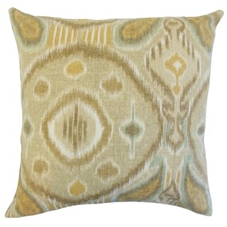 Janvier Rattan Ikat Feather Throw Pillow