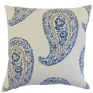 Neith Indigo Geometric 18-inch Feather Throw Pillow