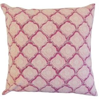 Padma Raspberry Geometric 18-inch Feather Throw Pillow