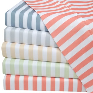 Superior Wrinkle Resistant Cabana Stripe Deep Pocket Microfiber Sheet Set
