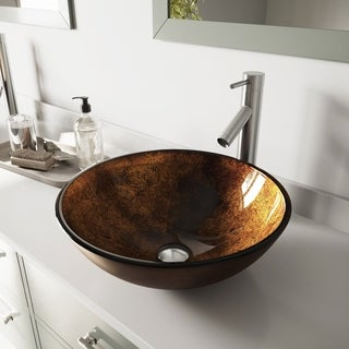 VIGO Russet Glass Vessel Bathroom Sink and Dior Vessel Faucet Set