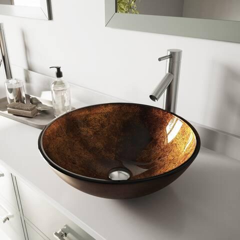 VIGO Russet Glass Vessel Bathroom Sink and Dior Vessel Faucet Set