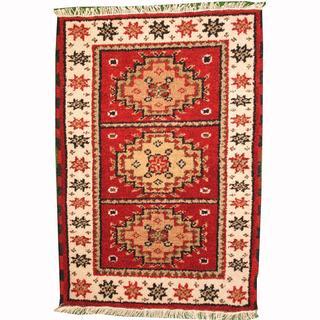 Herat Oriental Indo Hand-knotted Tribal Kazak Burgundy/ Gold Wool Rug (2' x 3')