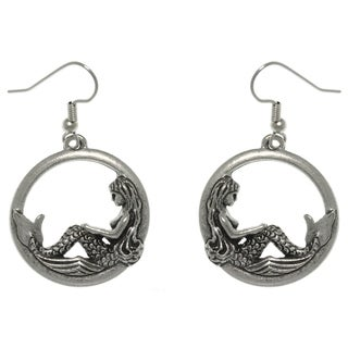 Carolina Glamour Collection Pewter Beautiful Mermaid on Waves Round Hoop Dangle Earrings