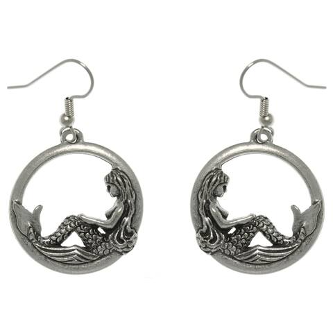 Pewter Beautiful Mermaid on Waves Round Hoop Dangle Earrings