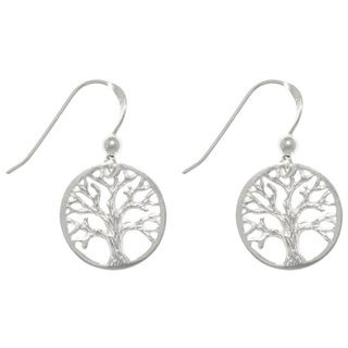 Carolina Glamour Collection Sterling Silver Round-cut Out Tree Of Life Dangle Earrings