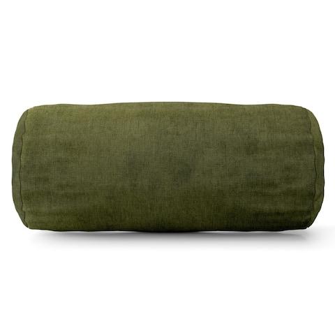 Majestic Home Goods Indoor Villa Velvet Round Bolster Decorative Throw Pillow