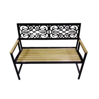 Folding Bench with Natural Wood Tone Slats
