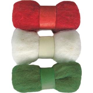 Feltworks Roving Trio Pack 1.58oz-Red, White & Green