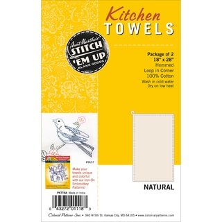 "Stitch 'Em Up Dish Towels 18""X28"" 2/Pkg-Natural"