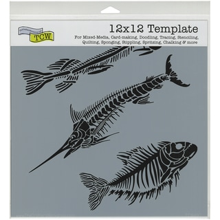 """Crafter's Workshop Template 12""""X12""""-Fish Fossils"""