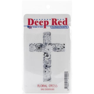 "Deep Red Cling Stamp 2""X3""-Floral Cross"