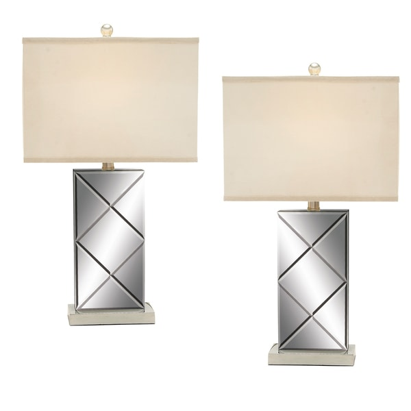 Illusion Contemporary Mirrored Table Lamp (Set of 2)