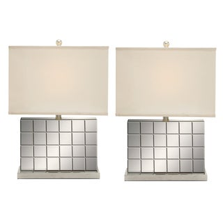 Reflections Contemporary Mirrored Tile Table Lamp in Chrome (Set of 2)