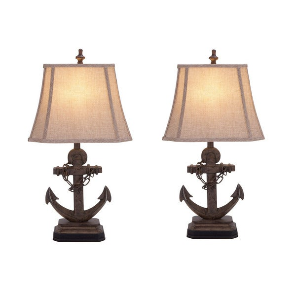 malibu anchor 28 inch nautical ceramic table lamp set of 2 free. Black Bedroom Furniture Sets. Home Design Ideas