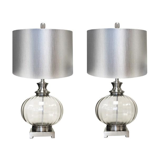 Gabriella Satin Grey 28-inch Metallic Glass Table Lamp (Set of 2)