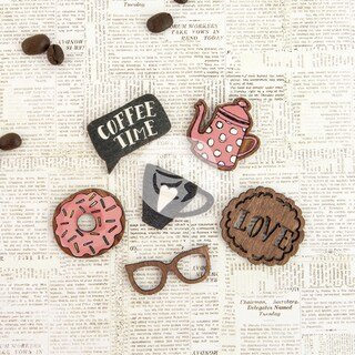 Coffee Break Laser Cut Wood Icons In A Box 24 Pieces-6 Designs